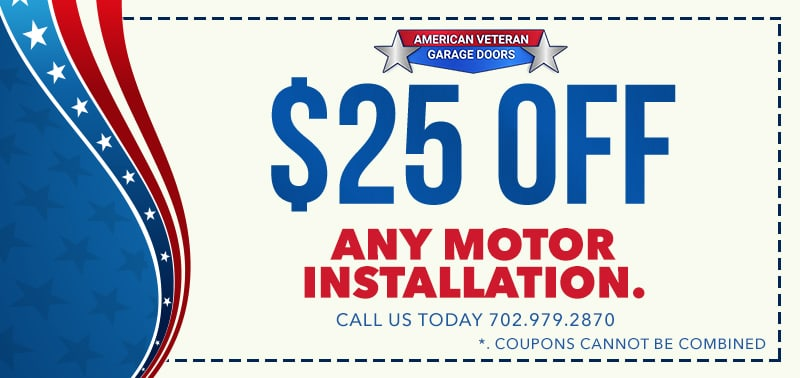 Las vegas garage door repair coupons american veteran for Garage motor installation cost